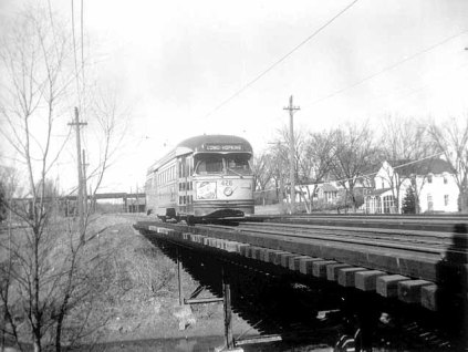 Streetcar on rail bridge