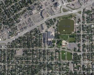 Aerial photo of Tech High School Current Site